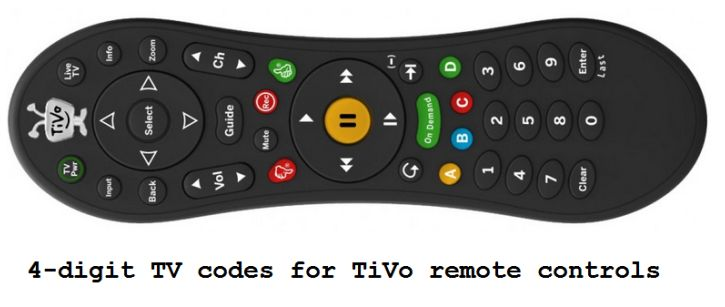4 Digit Tv Codes For Tivo Remote Controls
